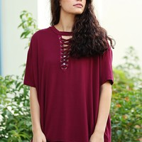Burgundy PIKO Half Sleeve Lace Up Tee