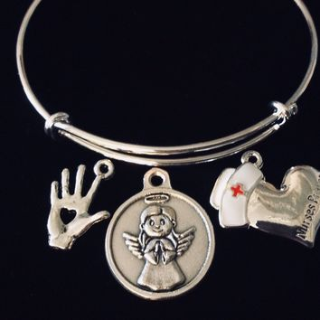 Nurse Prayer Jewelry Healing Hand Adjustable Bracelet Silver Expandable Charm Bangle One Size Fits All Blessing Pinning Gift