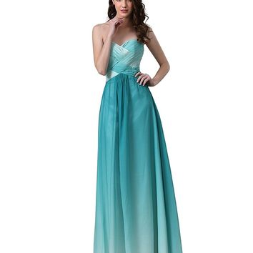Women's Ombre Green Sweetheart Pleated Chiffon Prom Dress Cut Out Back