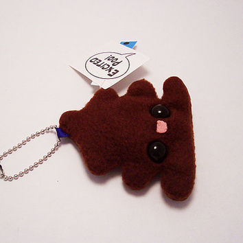 Excited Poo Plushie Keychain stuffed toy washroom decor by quacked
