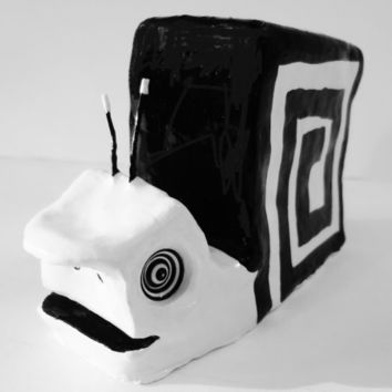 X-LARGE Original Black and White Modern Minimalist Clay Sculpture of Snail Ooak - FREE Shipping (Canada & US)