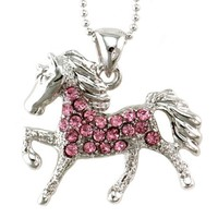 SoulBreezeCollection Light Pink Horse Pony Mustang Animal Pendant Necklace Charm