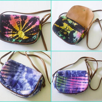 Fabric shoulder bag Black or purple tie dye bag ,Small clutch wide 20 cm.with zipper ,Handmade bag, Unique clutch bag, Cross body bag