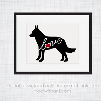 INSTANT DOWNLOAD: Belgian Malinois Love - an original digital silhouette for wall-art, clip art, t-shirt transfers, scrapbooking