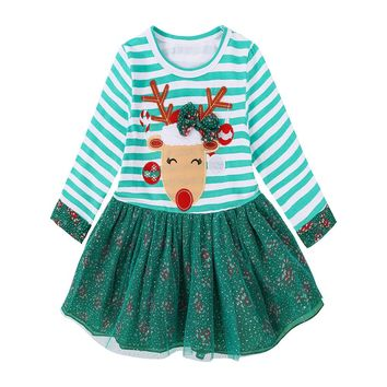 Christmas Dress For Baby Girls Toddler Santa Striped Outfits / sizes 9M-5T