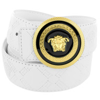 Hip Hop Medusa Buckle White Leather Greek Design Belt