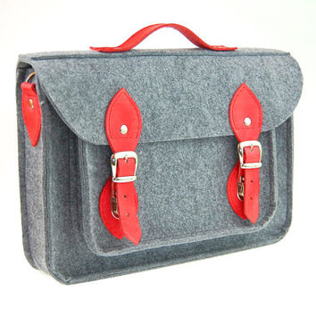 Felt Laptop bag 15 inch with pocket, satchel, Macbook Pro 15 in, Custom size Laptop bag, sleeve, case, with leather straps and belt shoulder