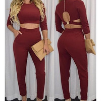 Sexy Round Neck Long Sleeves Hollow Out Crop Top and Pants Suit For Women