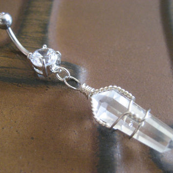 Magic Quartz Belly Button Jewelry Piercing Ring- Clear Wire Wrapped Crystal Charm Dangle