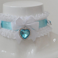 Heart of the ocean -white and blue kawaii cute lolita kitten pet ddlg play - collar with titanic inspired pendant