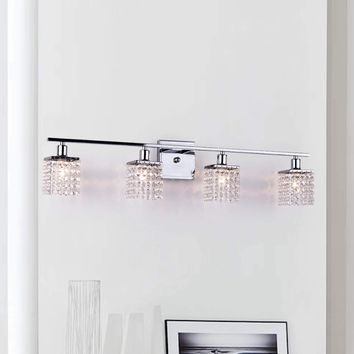 Contemporary Glam Four-light Chrome/ Crystal Wall Sconce