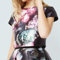 Ethereal Posie crop top - Black | Tops & Tees | Ted Baker
