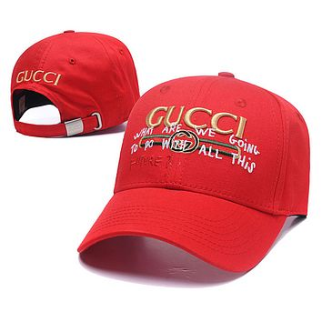 GUCCI New fashion embroidery letter stripe couple cap hat Red