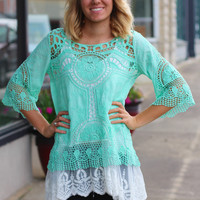 Crochet Chaser Overlay Top {Mint}