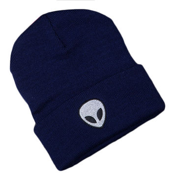 Alien Head Embroidered Beanie Fashion Casual Womens & Mens Warm Winter Knitted Cotton Blue Cuffed Skully Hat
