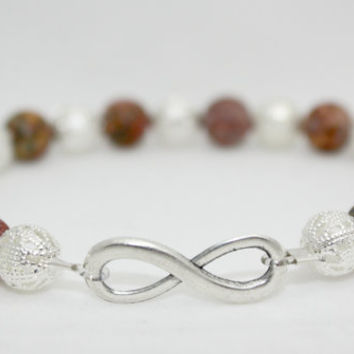 Antiqued Silver and Jasper Infinity Stretch Bracelet 7.5 inches #infinity #forever #love #infinityjewelry #bff