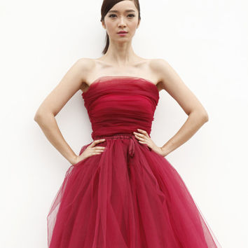 Tulle Skirt Short Tutu Skirt Elastic Waist tulle tutu Princess Skirt Wedding Skirt in Cherry - NC509