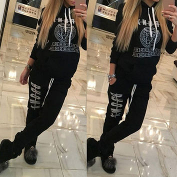 2016 Fashion Women Spotswear Autumn Winter Printed Letter Pullovers Long-sleeve Hooded Casual Suit Costumes Mujer 2 Piece Set