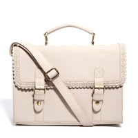 ASOS | ASOS Large Satchel Bag With Scallop Trim And Front Buckles at ASOS