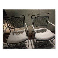 Snow Covered Chairs Poster