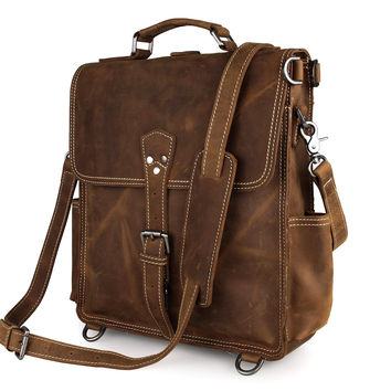 Crazy Horse Leather Top Quality Tote Bag Backpack_Backpacks_Men's Leather Bags