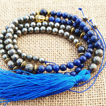Men Lapis Mala 108 Beaded Gemstones Mala Necklaces Pyrite Necklace Tassel Boho Men Necklace Women  Buddha Buddhist Mala Meditation Mala