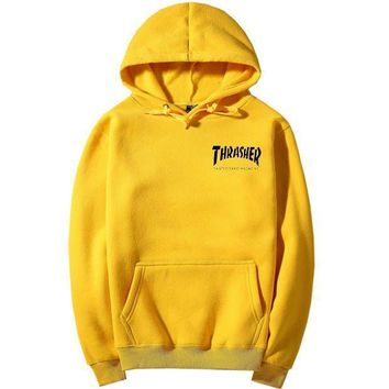 ThrasherQuality hooded sweater flame slide hip sweater Letters on the side Yellow