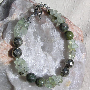 "Green Prehnite, Pyrite & Jasper Crystal Gemstone Bracelet  ""Larch"""