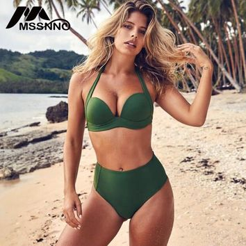 Solid Sexy Bikini Set High Waist Swimsuit Women Push Up 2018 Women's Bikini Short Top Large Size Bathing Suit Beach Biquini