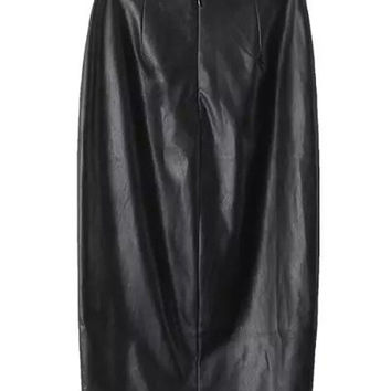 Fall/Winter Sexy Black PU Leather Slit Bodycon Skirt