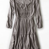 AEO Women's Tiered Boho Dress (Grey)