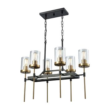 14551/6 North Haven 6 Light Chandelier In Oil Rubbed Bronze With Satin Brass Accents And Clear Glass