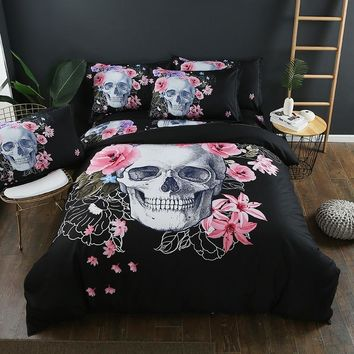 2/3pcs 3D Duvet Cover Bedding Set  Bed Quilt Cover Clothes Pillowcase Kids Bedroom Twin Full Queen King Size Flowers Skull