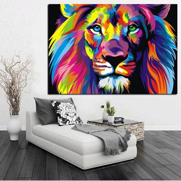 The King of Forest Lion Animal Oil Painting on Canvas Modern Pop Canvas Art Poster For Living Room ,Offiece, bars Home Decor
