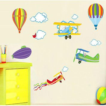 Baby Kids Room 3D Wall Decal Airplane, Hot Air Balloon Stickers