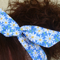 Dolly Bow, Spring Bow Blue with Flowers Easter Wire Headband Teen Womans