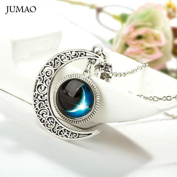 Hollow Moon & Glass Nebula Space Galaxy Statement Necklaces Silver Chain Pendants Jewelry Friend Best Gifts