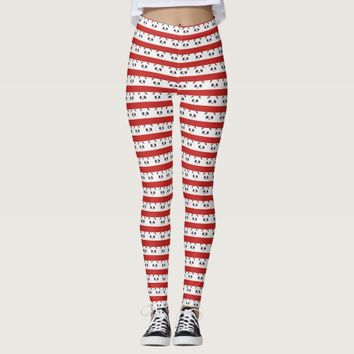 Black and White Chinese Panda Bear Face Red Stripe Leggings