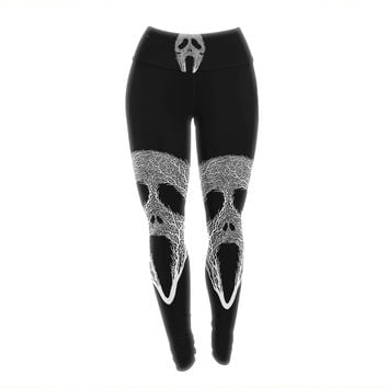 "BarmalisiRTB ""The Scream Tree"" Black White Yoga Leggings"