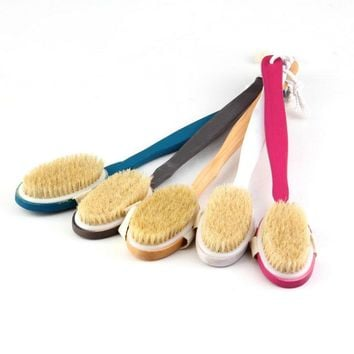 Natural Long Wood Wooden Body Brush Massager Bath Shower Back Spa Scrubber
