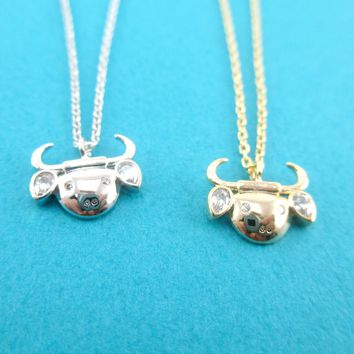 Taurus Astrological Zodiac Baby Bull Cow Pendant Necklace