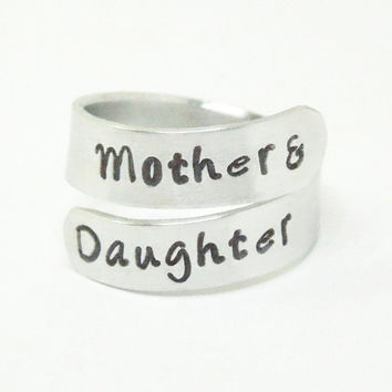 Mother and daughter ring - Mother daughter jewelry - Stamped ring - Gift for Mom - Mother's Day gift