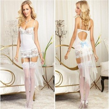 Pretty white wedding costume with blue bows, train, garters, and g-string