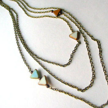 Triangle Triple Strand Necklace - Sky