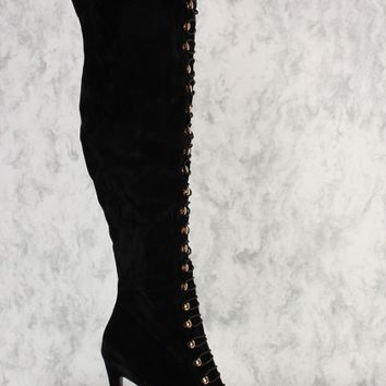 Black Thigh High Platform Boots Faux Suede