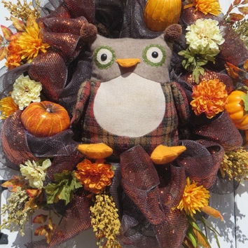 Fall Owl Wreath, Fall Mesh Wreath, Fall Door Wreath, Double Door Wreaths, Owl Wreath,  Fall Front Door Wreath, Wreath for Front Door