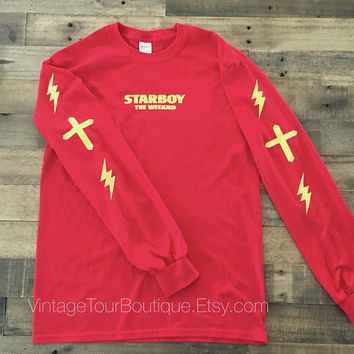 Starboy The Weeknd Red Long Sleeve Tee Shirt Distressed Lighting XO T-Shirt Legend of the Fall Tour Merch