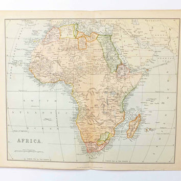 1880s Map of Africa, Antique Africa Map 19th Century Map, History, Home Decor, Office Decor