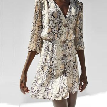 Snake Skin Print Mid-Sleeve Button Down Mid Dress