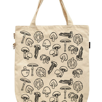 Women Mushroom Food Printed Canvas Tote Shoulder Bags WAS_39
